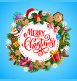christmas tree and gifts wreath new year holiday vector image vector image