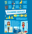 cleaning service and household work infographics vector image vector image