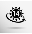 clock hour sign graphic 14 number time date white vector image