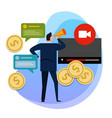 concept of monetization of the video making vector image