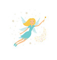 cute blue fairy in flight with a magic wand vector image vector image