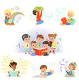 cute little kids reading fairy tales set vector image vector image