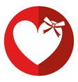 cute love heart passion with bow shadow vector image vector image