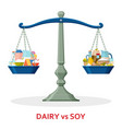dairy food and soy food on balanced scale healthy vector image