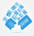 Data or information lost Blue broken usb drive vector image