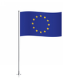 European Union flag waving on a metallic pole vector image vector image