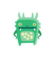 funny green cartoon monster fabulous incredible vector image vector image