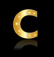golden letter c shiny symbol vector image