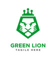 green lion head logo design vector image