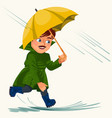 man walking rain with umbrella hands raindrops vector image