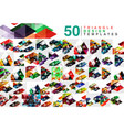 mega collection of 50 color transparent triangle vector image