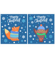 merry christmas set of posters vector image