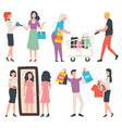 people shopping buying clothes man and woman set vector image vector image