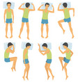 person sleep positioning man in different vector image vector image