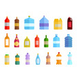 plastic bottle water icon set color drinking vector image