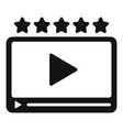 rating video player icon simple style vector image vector image