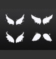 set hand drawn bird or angel wings with light vector image vector image