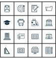 set of 16 school icons includes academy home vector image