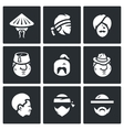 Set of People Nation Icons Chinese Thai vector image vector image