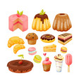 set of sweets delicious pastries and desserts vector image
