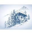 Ski hut in mountains resort vector image vector image