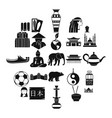 traveling in asia icons set simple style vector image vector image