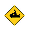 usa traffic road signs snowmobile ahead or vector image