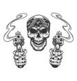 vintage monochrome skull in bandana vector image vector image