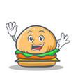 waving burger character fast food vector image vector image