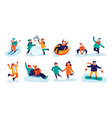 winter kids activities snow games smiling little vector image