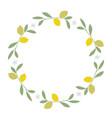wreath leaves lemon and lemon blossoms on vector image vector image