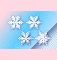 4 white paper cut snowflakes four origami winter vector image
