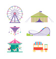 Amusement park set Ferris wheel roller coaster vector image