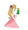 Beautiful young princess kissing a big frog vector image vector image