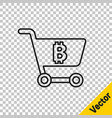 black line shopping cart with bitcoin icon vector image vector image