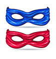 Blue and red mask for face character super hero vector image