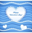 blue wavy Valentines Day background vector image
