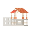Building Construction Process of Cottage House vector image vector image