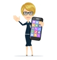 Businesswoman is holding in his hand Smartphone vector image vector image