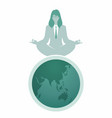 businesswoman with glasses doing yoga on top vector image