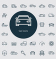 car outline thin flat digital icon set vector image vector image