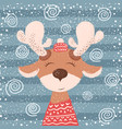 cartoon funny deer character winter vector image vector image