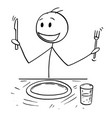 cartoon of hungry man with fork and knife waiting vector image