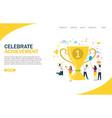 celebrate achievement website landing page vector image