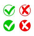 checkmark and cross icon true check answer vector image vector image