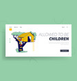 children climbing on tree house landing page vector image