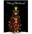 christmas bear in fir tree hat wind round with vector image