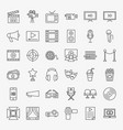 cinema movie line icons set vector image vector image