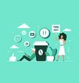 coffee break concept using social media for break vector image