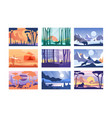 collection of beautiful scene of nature peaceful vector image